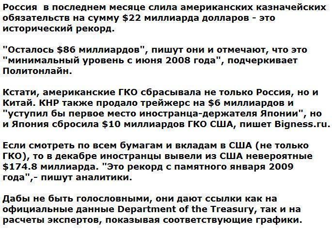 Россия и Китай устроили рекордную распродажу облигаций США