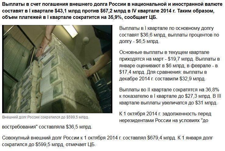 Внешний долг России сократился до $599,5 млрд